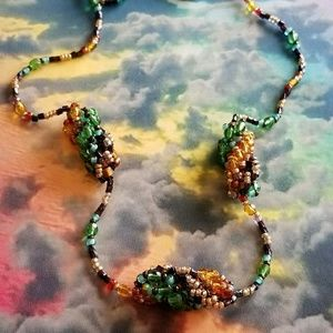 Beaded rainbow necklace handmade spiral long